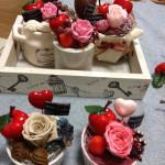 プリザーブドフラワーの薔薇を使ったバレンタインのミニアレンジ