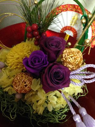 プリザーブドフラワーでお正月の飾りアレンジ♪