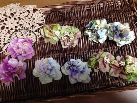 かわいい小花とアジサイを使ったヘアアクセサリー
