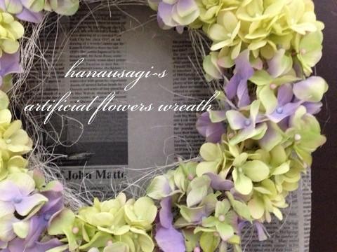 華やかな春色のアートフラワーリース(グリーンパープル系)