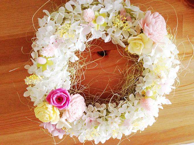 紫陽花のフラワーリース