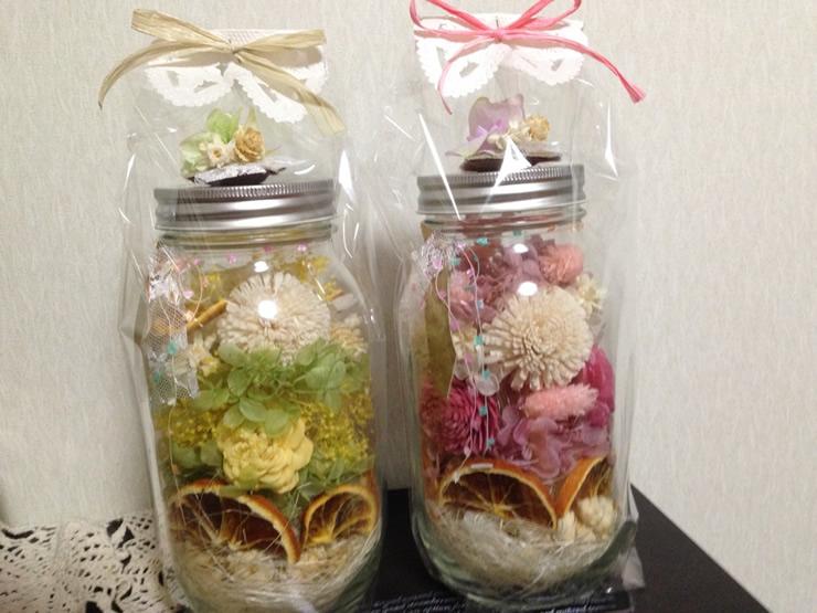 [簡単アレンジ]ジャーサラダの容器(瓶)を使った可愛いジャーフラワー2