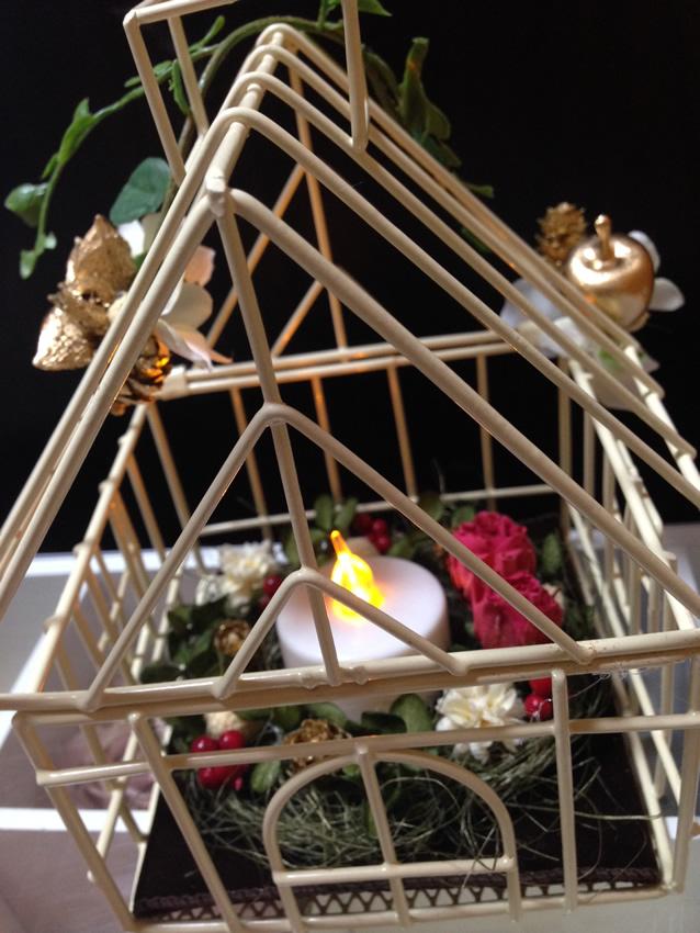 クリスマスハウスキャンドル♪プリザーブドフラワーアレンジメント