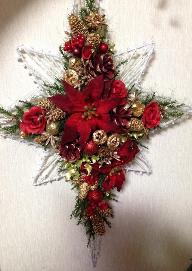 ポインセチアのクリスマスアレンジ♪星型アイアンベース