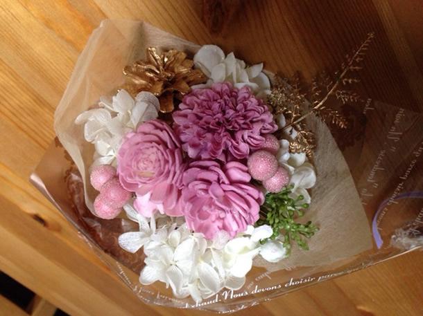 3種類の花束ピンク