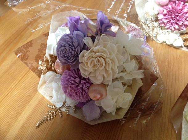 3種類の花束パープル