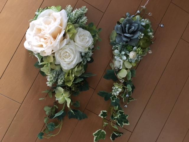 グリーン+白い花のフラワーアレンジメント8